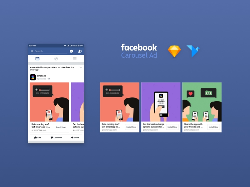 facebook carousel ad mockup freebie download sketch resource