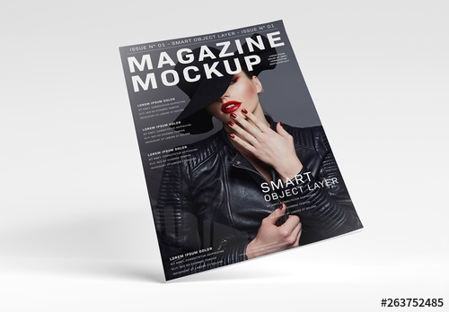 floating magazine mockup on white surface buy this stock template