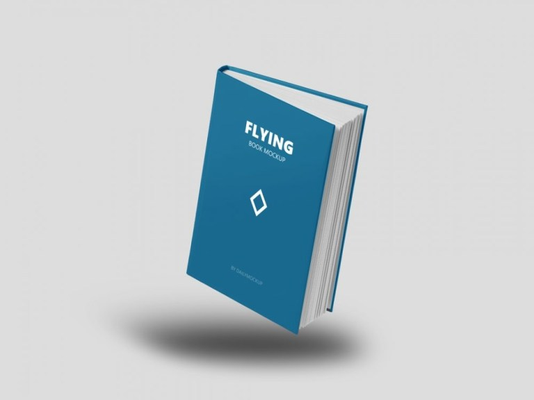 flying book mockup free daily mockup