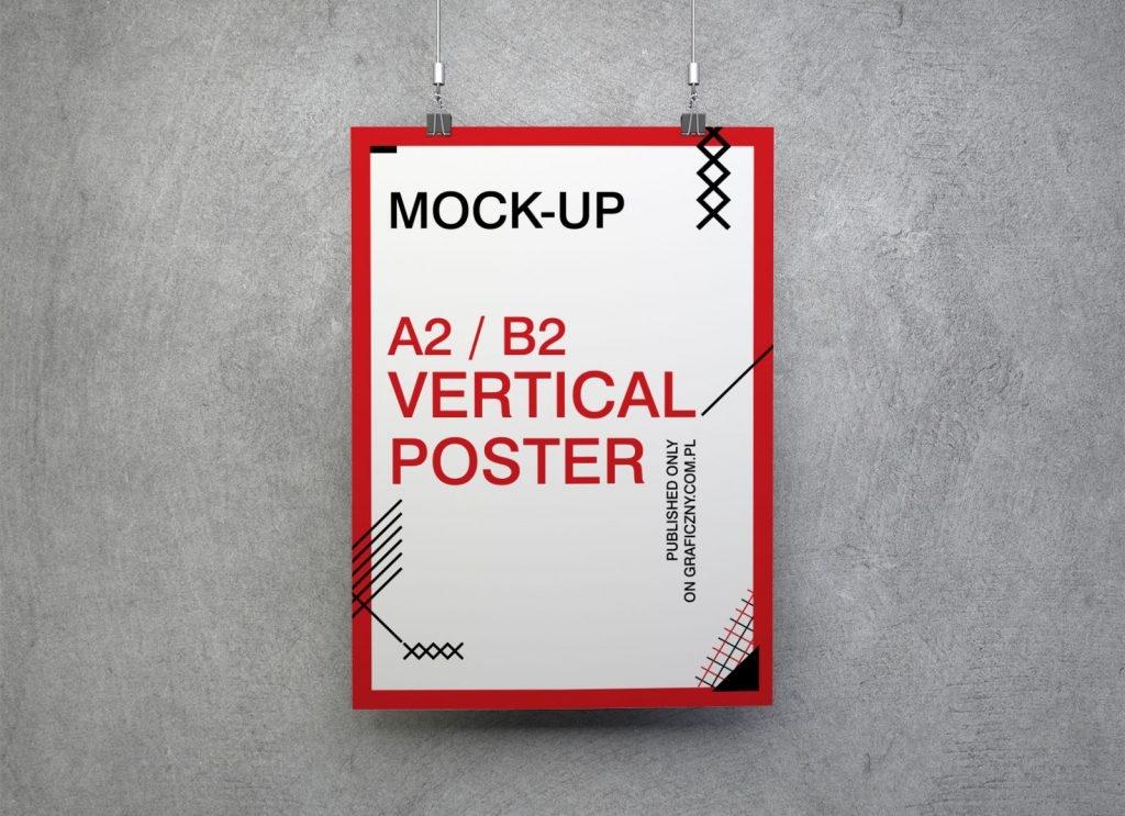 free hanging vertical square horizontal poster mockup psd set