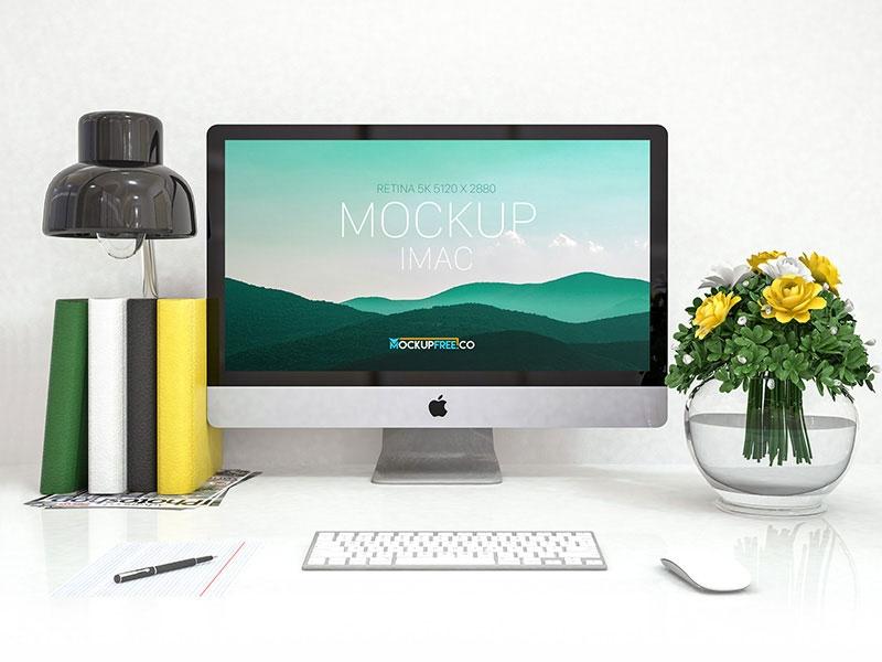 free imac mockup in desk mockuptree