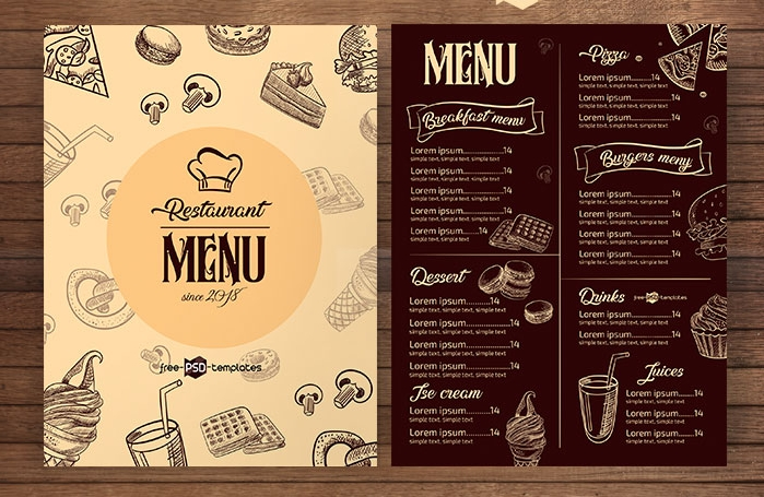 free restaurant menu psd template mockup free downloads
