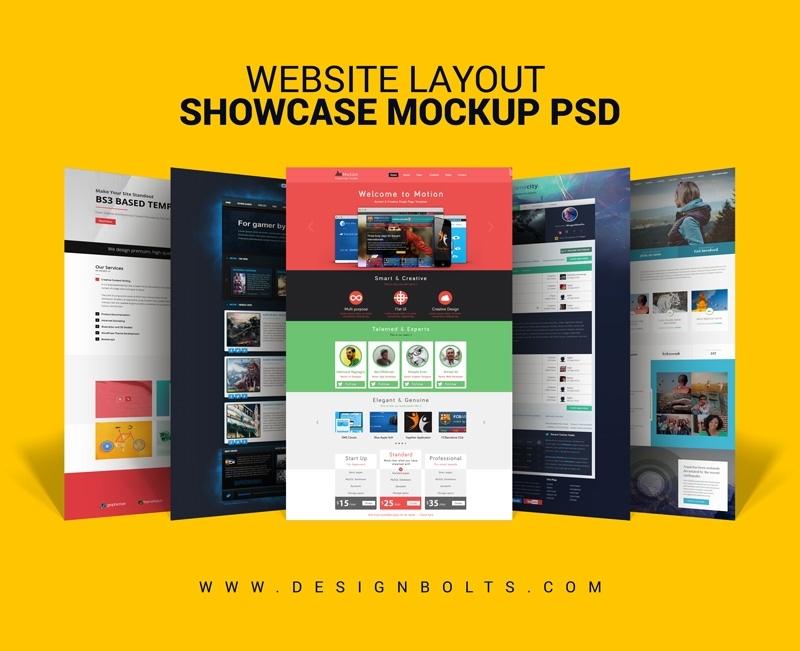 free website layout design showcase mock up psd for web designers