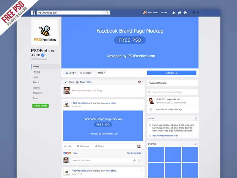 freebie facebook new brand page 2016 mockup psd psd freebies on