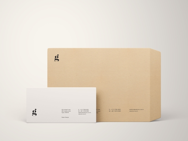front view of different sized envelope mockup
