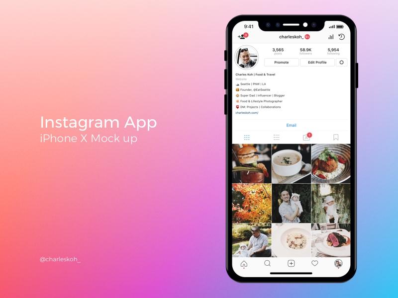 instagram app profile mockup on iphone x charles koh on dribbble