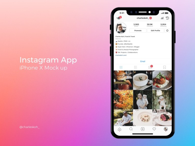 instagram app profile mockup on iphone x charles koh on dribbble