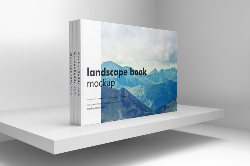 landscape book mockup premium branding mockups