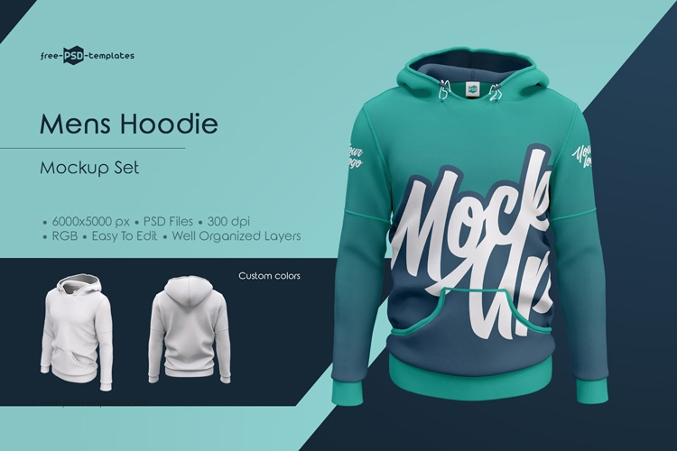 mens hoodie mockup set free psd templates