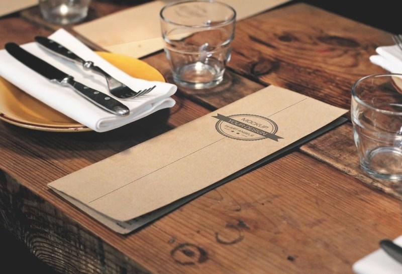 menu card on table mockup mockupworld