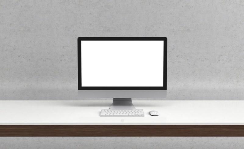 minimal imac on desk mockup mockupworld
