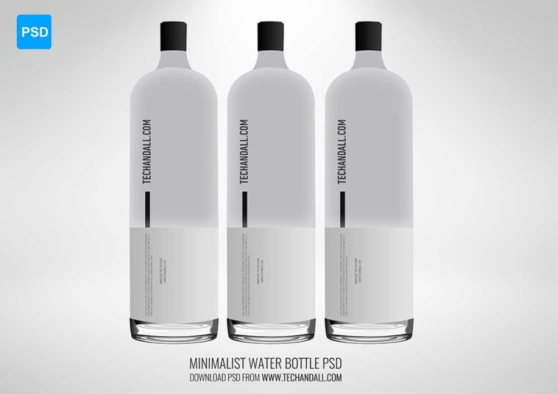 minimalist water bottle mockup tech all