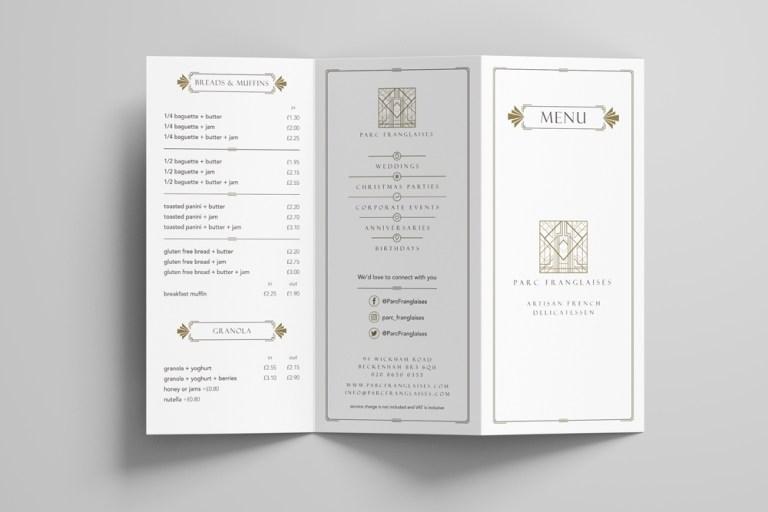 parc franglaises menu mockup ronin marketing