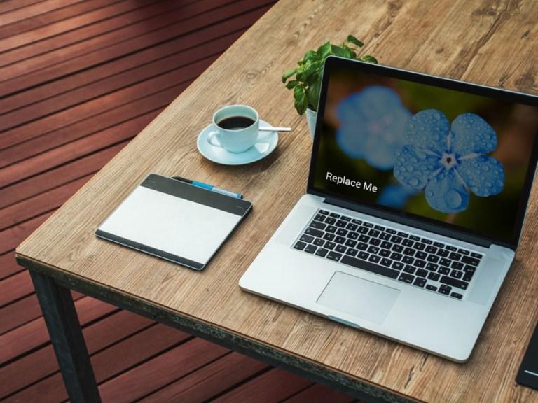 perspective top laptop mockup mockupblast