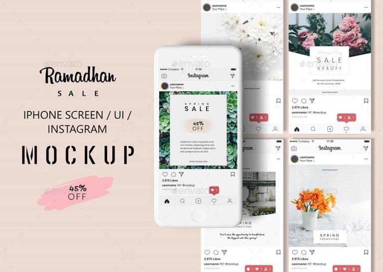 phone screen ui instagram mock up graphicgata graphicriver
