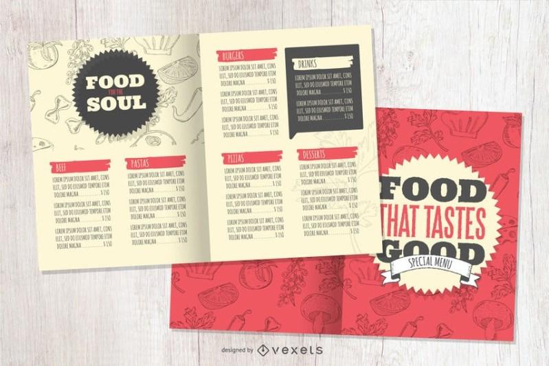restaurant menu mockup template vector download