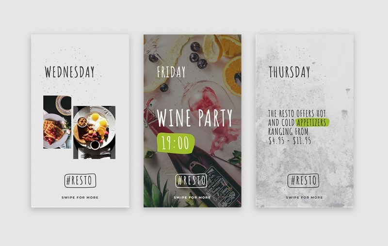 resto instagram stories template mockups for free