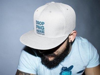 snapback hat mockup of a guy with a beard a11843
