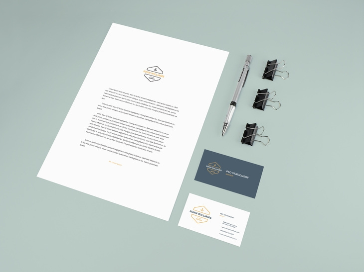 stationery mockup with pencil and clips graphberry