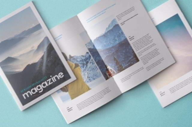 this is the overhead view of our a4 psd magazine booklet mockup