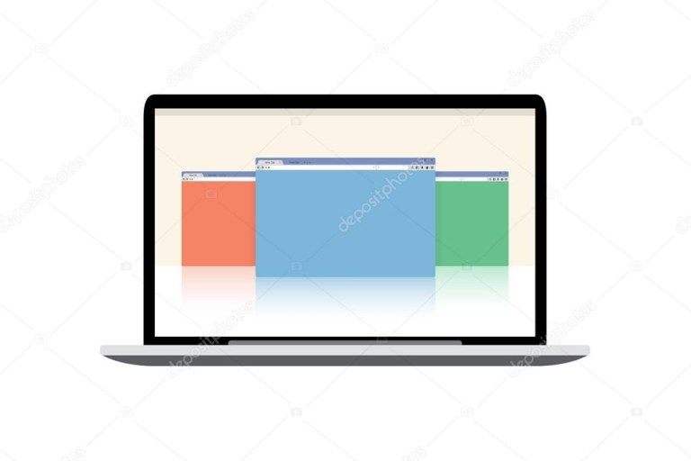 vector laptop mockup display with open windows stock vector