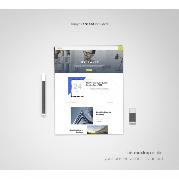 web page on white background mock up psd file free download