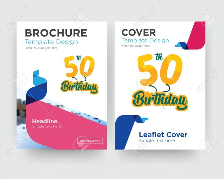 50th birthday brochure flyer design template with abstract photo