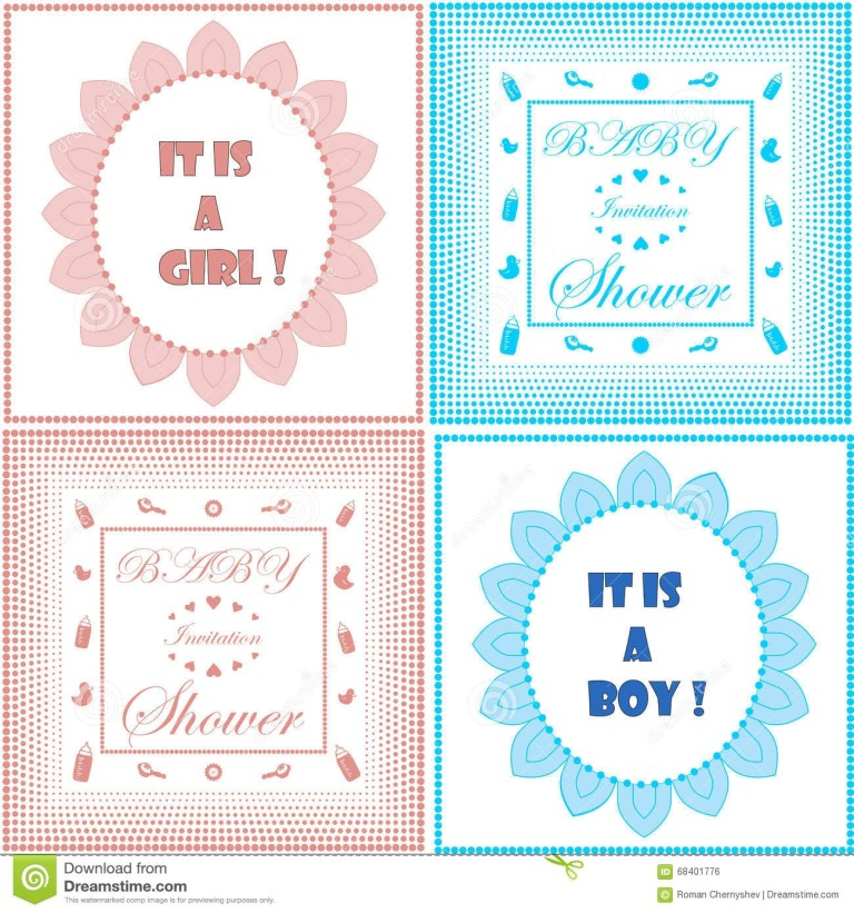 baby shower invitation card template set boy and girl