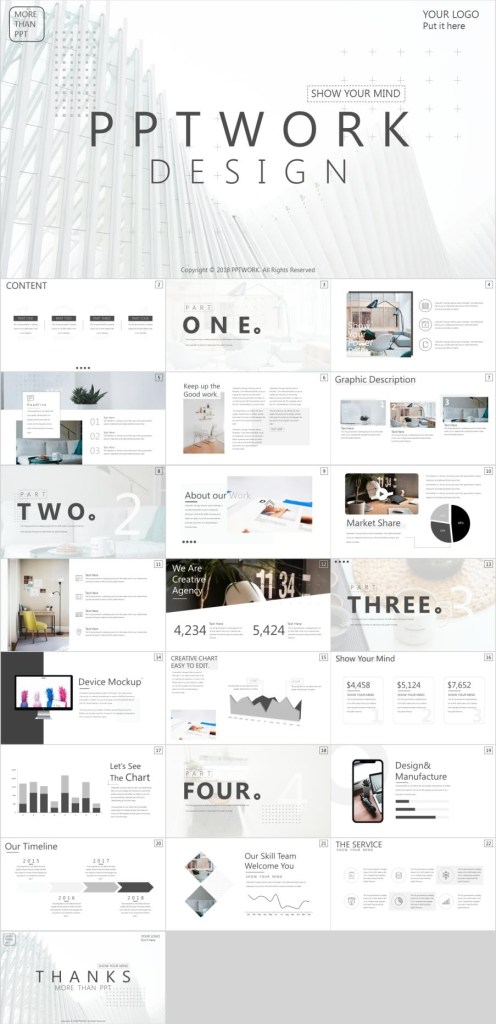 best white company report powerpoint template