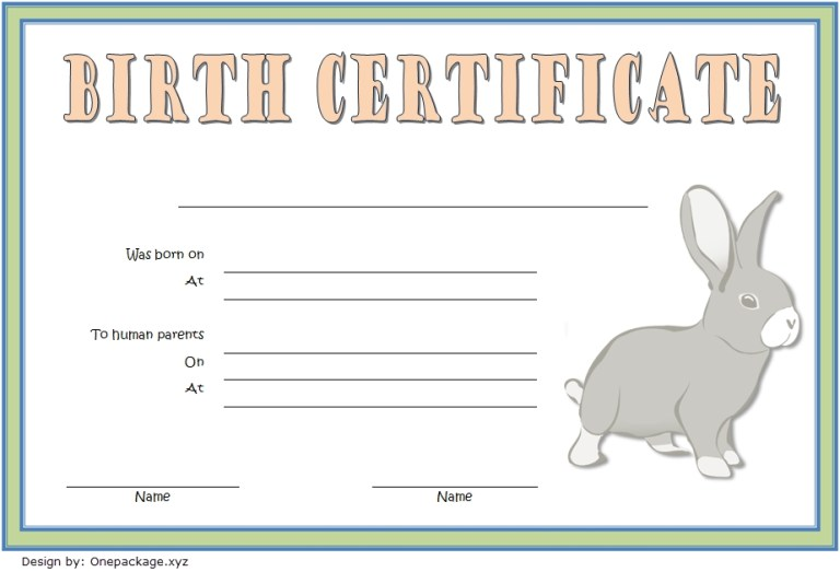 birth certificate template for rabbit