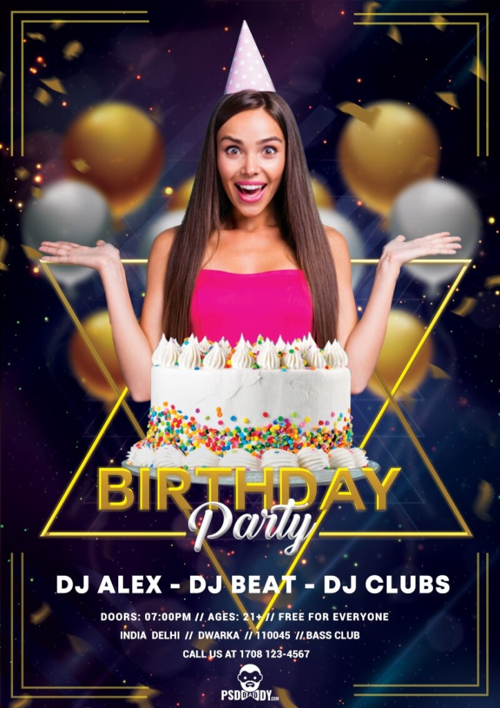 birthday flyer psd template psddaddy