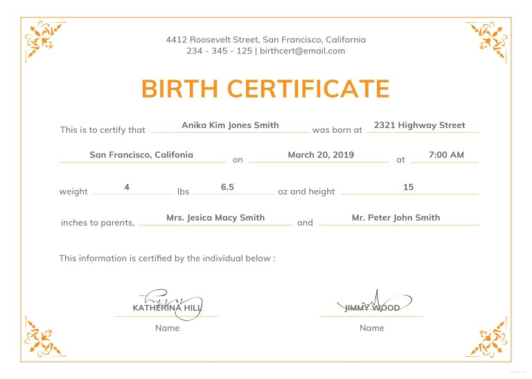 blank birth certificate template uk