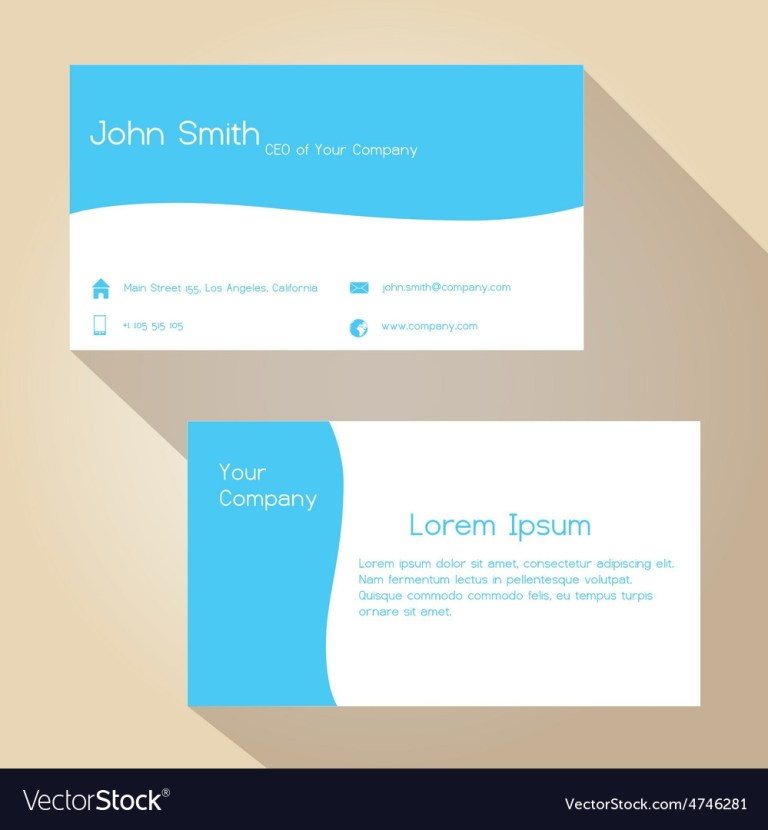 blue and white simple business card design