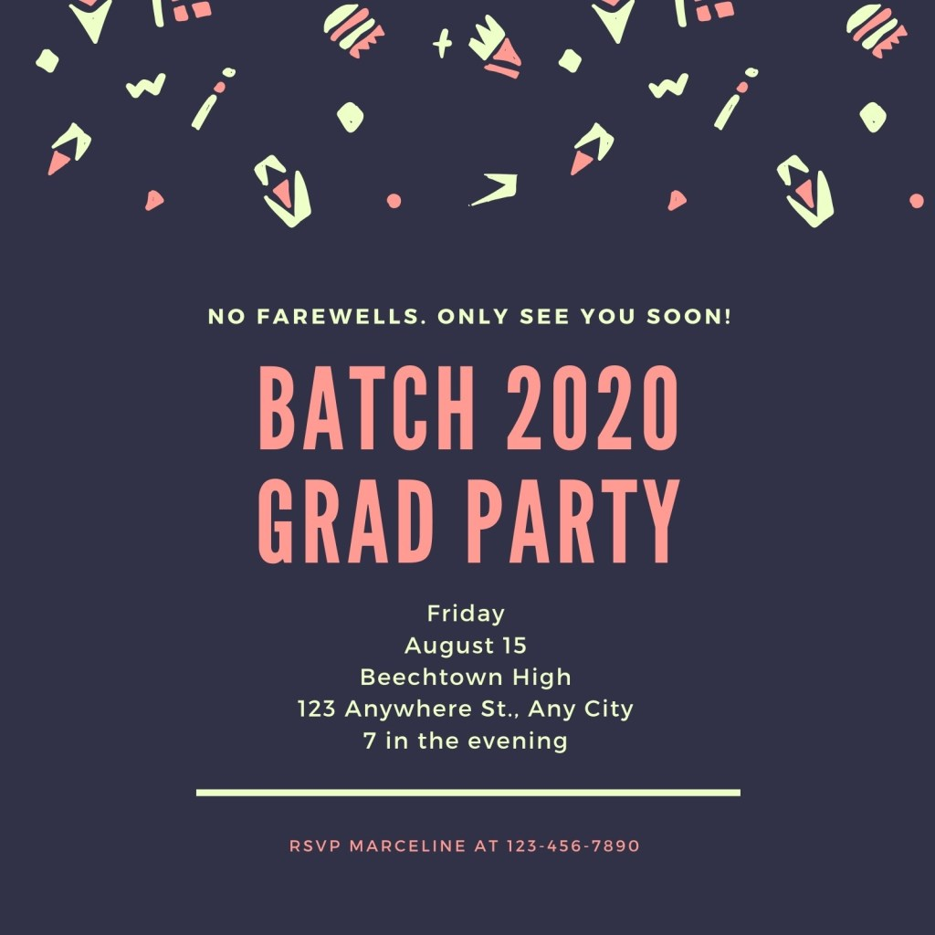 blue graduation farewell party invitation templates canva