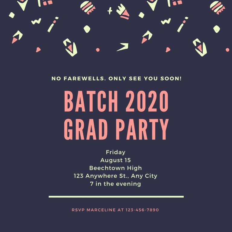 blue graduation farewell party invitation templates canva