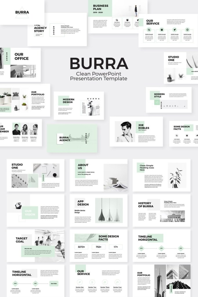 burra clean simple presentation powerpoint template