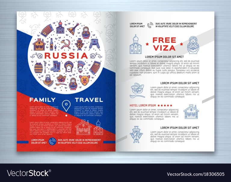 colorful russian travel brochure template