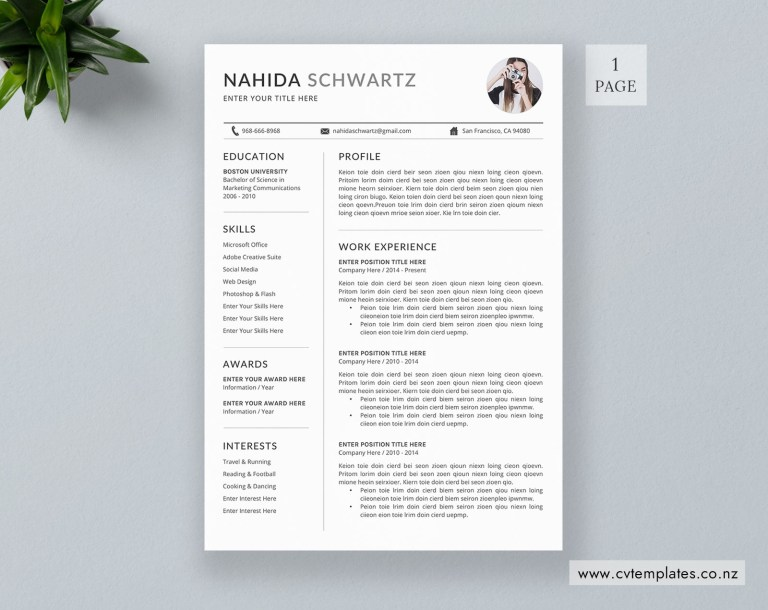 cv template professional curriculum vitae minimalist cv template design ms word cover letter 1 2 and 3 page simple resume template instant
