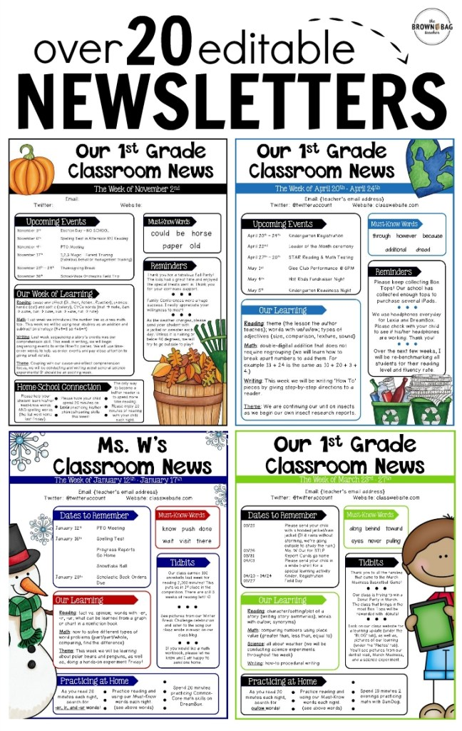 editable newsletter templates classroom newsletter