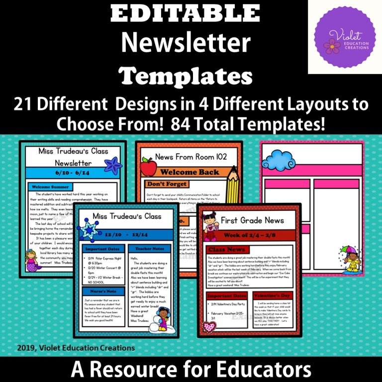 editable newsletter templates violet education creations