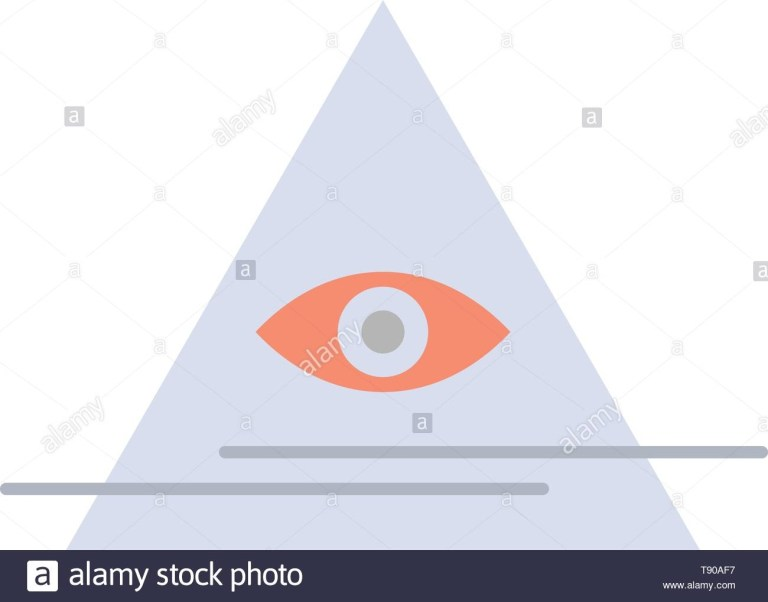 eye illuminati pyramid triangle flat color icon vector