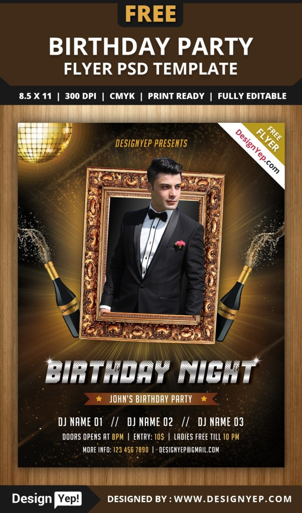free birthday party flyer psd template designyep