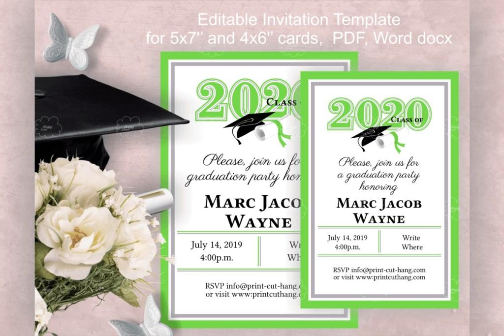 invitation template editable text green graduation 2020
