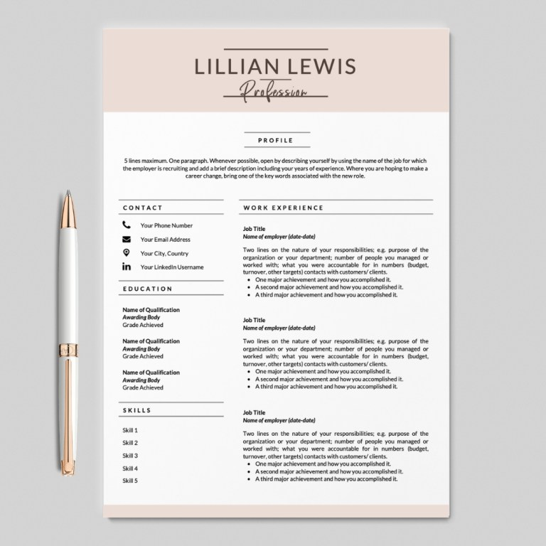 minimalist resume i cv template i 2 page resume template i lillian lewis