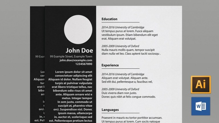 minimalist resume template word a4 and us letter youtube