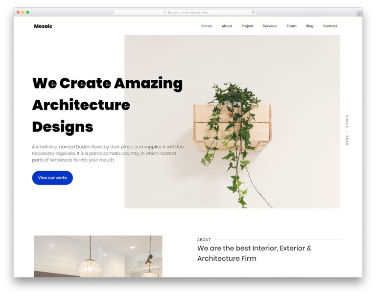 mosaic architecture portfolio website template