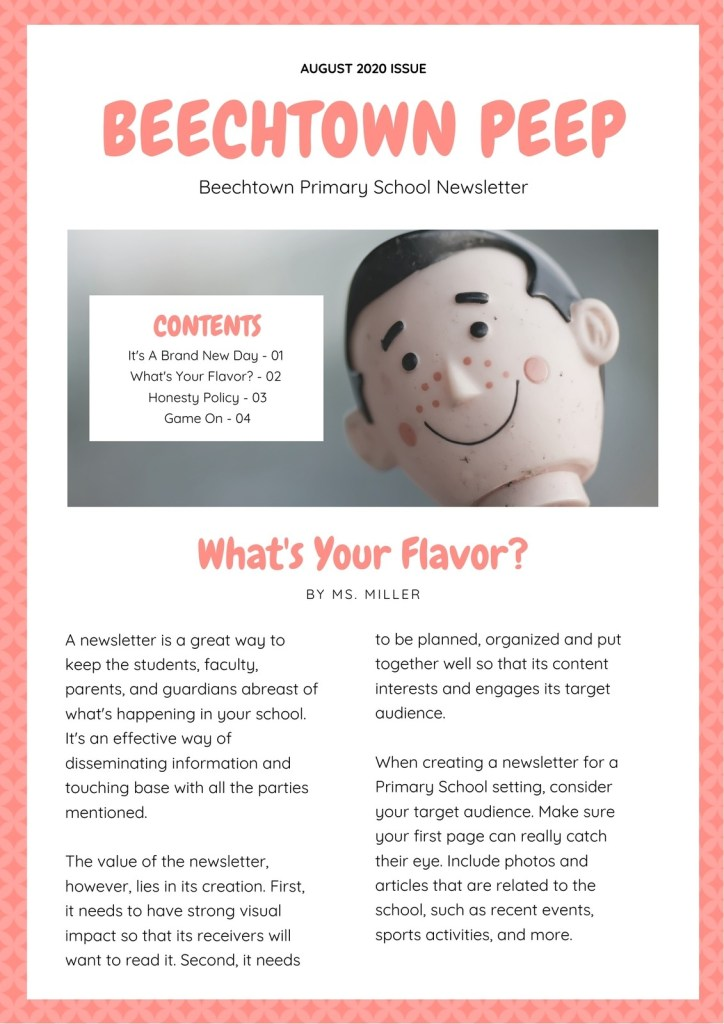 pink and white diamond bordered primary school newsletter