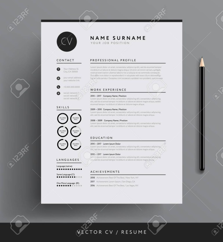 professional minimalist resume template design
