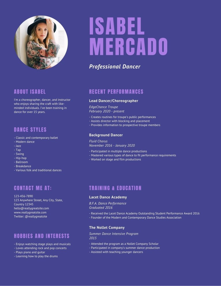 purple theater choreographer dancer resume templates canva