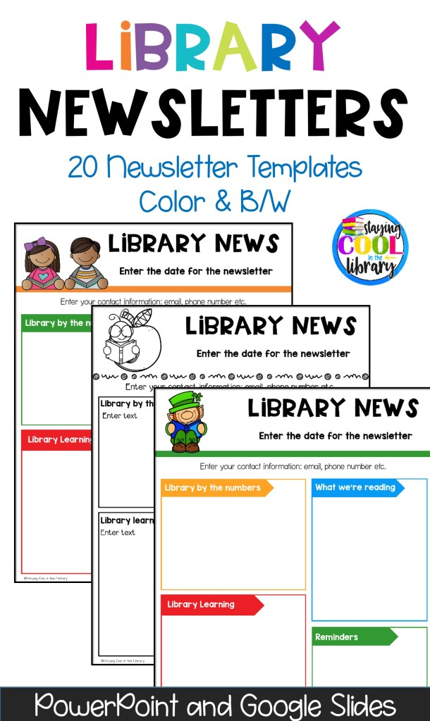 school library newsletter templates editable and digital